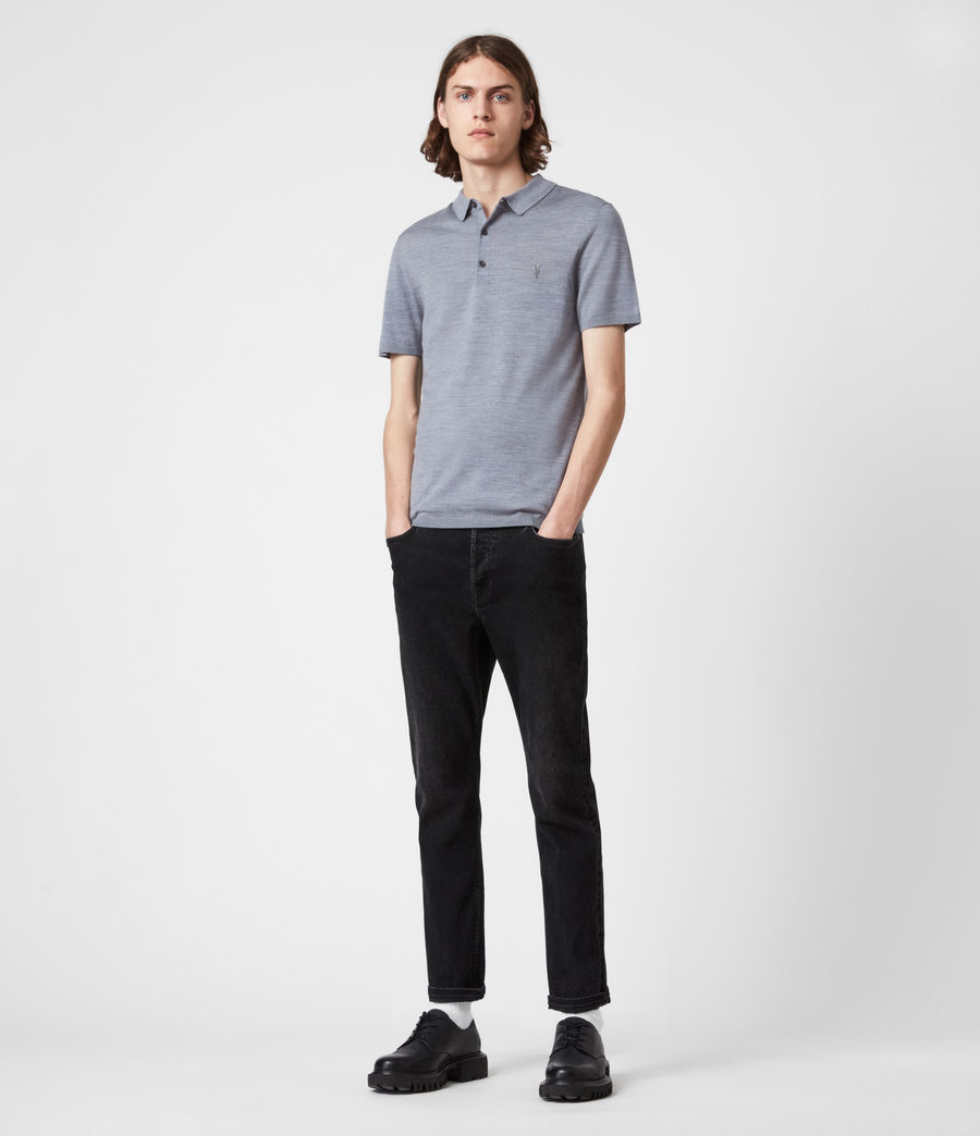 Herren Mode Merino Short Sleeve Polo Shirt (twilight_blue_marl) - Image 4