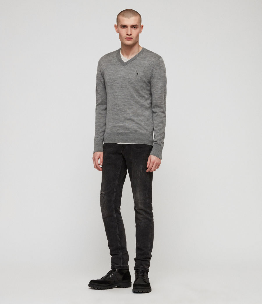 Men's Mode Merino V-neck Jumper (Grey Marl) - Image 1