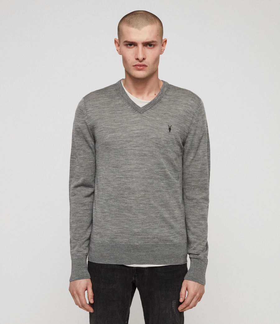 Men's Mode Merino V-neck Jumper (Grey Marl) - Image 2