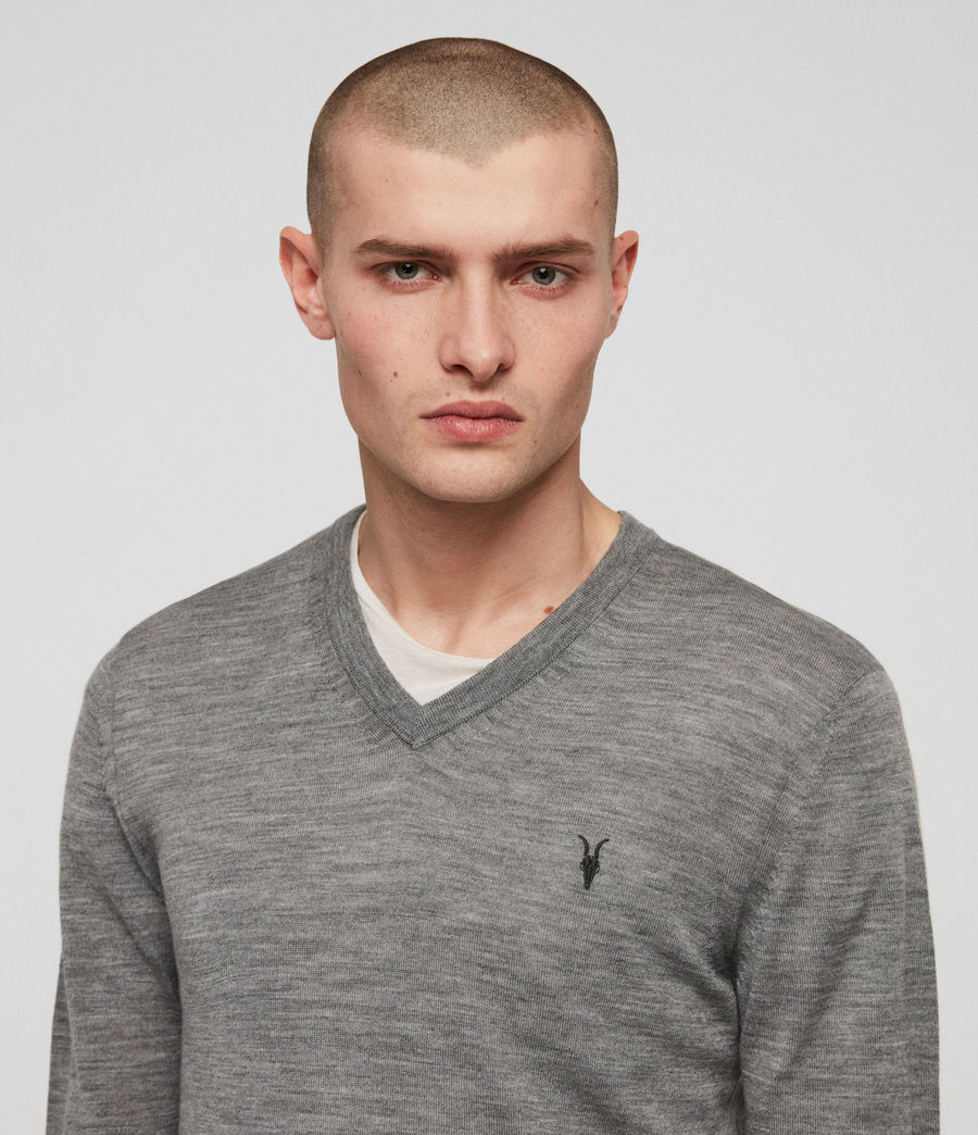Men's Mode Merino V-neck Jumper (grey_marl) - Image 3