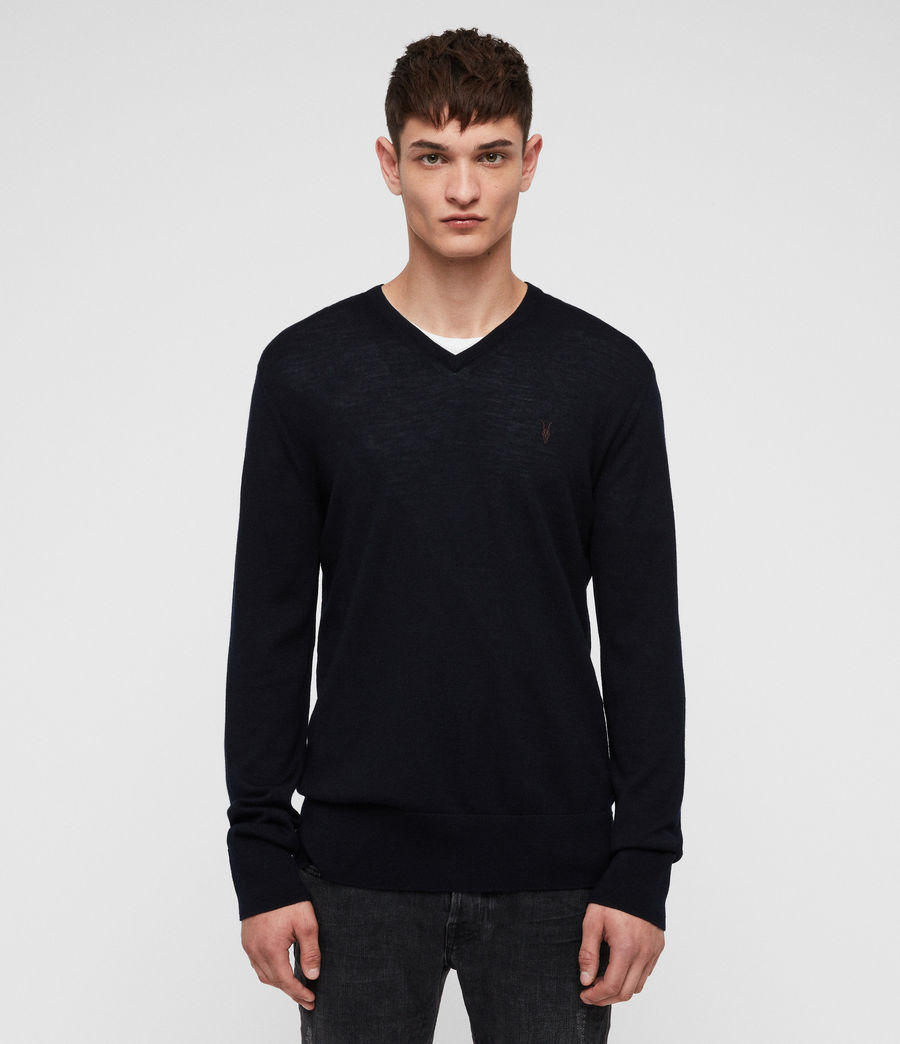 Men's Mode Merino V Neck Jumper (ink) - Image 1