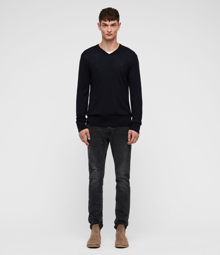 Men's Mode Merino V Neck Jumper (ink) - Image 3