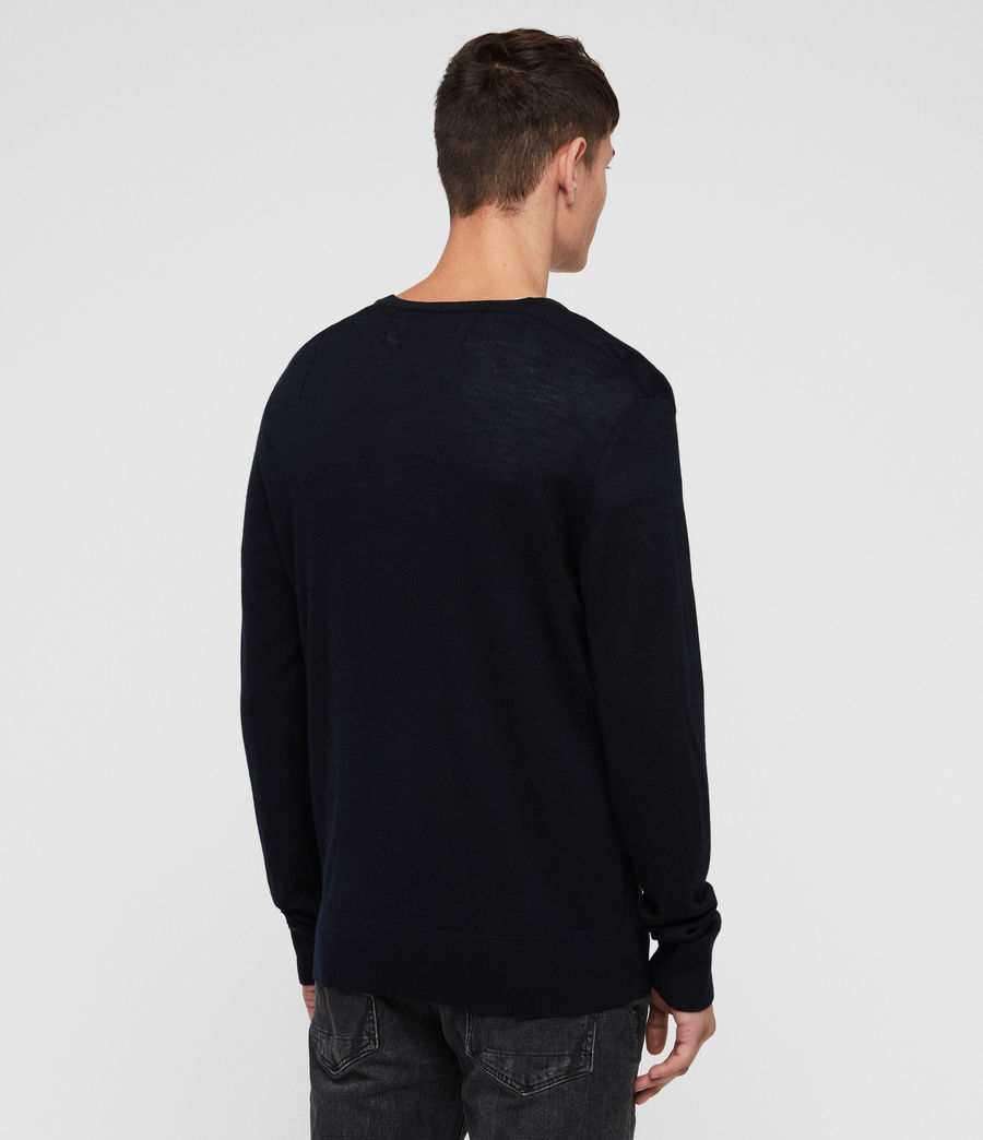 Men's Mode Merino V Neck Jumper (ink) - Image 5
