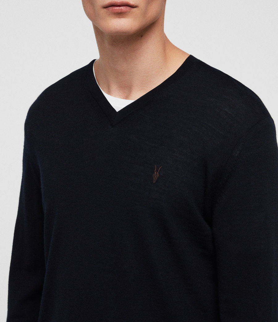 Men's Mode Merino V-neck Jumper (ink_navy) - Image 2