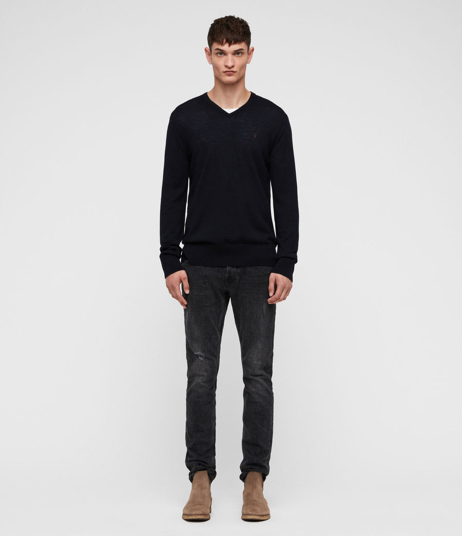 Men's Mode Merino V-neck Jumper (ink_navy) - Image 3
