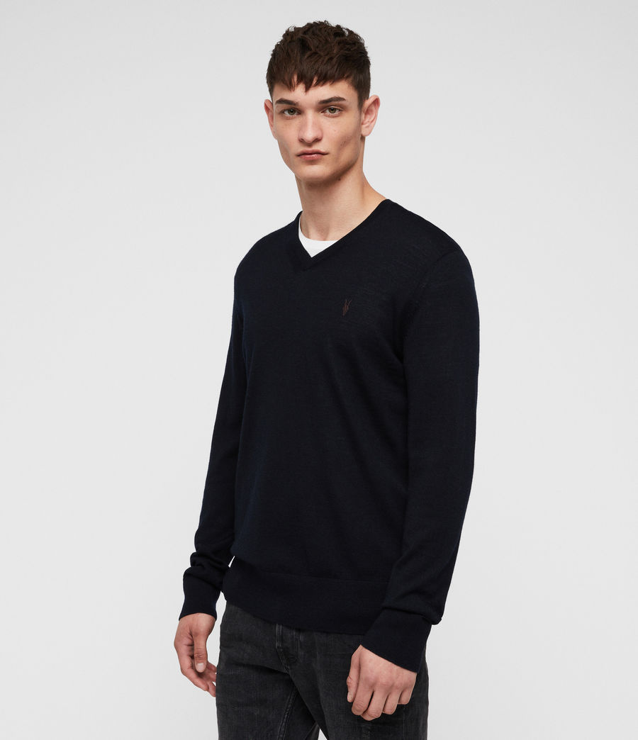 Men's Mode Merino V-neck Jumper (ink_navy) - Image 4