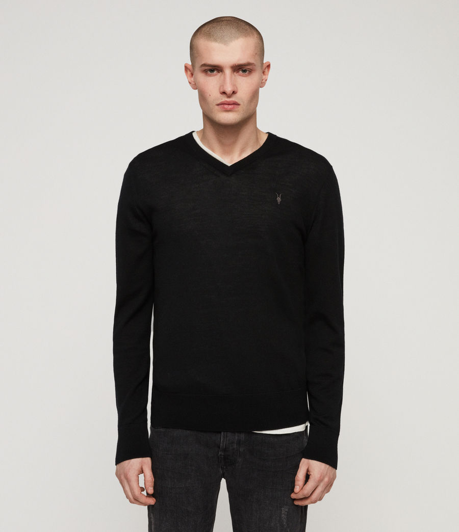 Mens Mode Merino V-neck Sweater (black) - Image 1