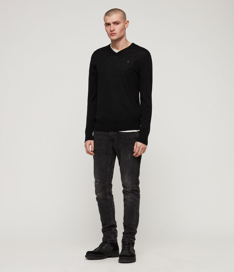 Men's Mode Merino V-neck Jumper (black) - Image 3
