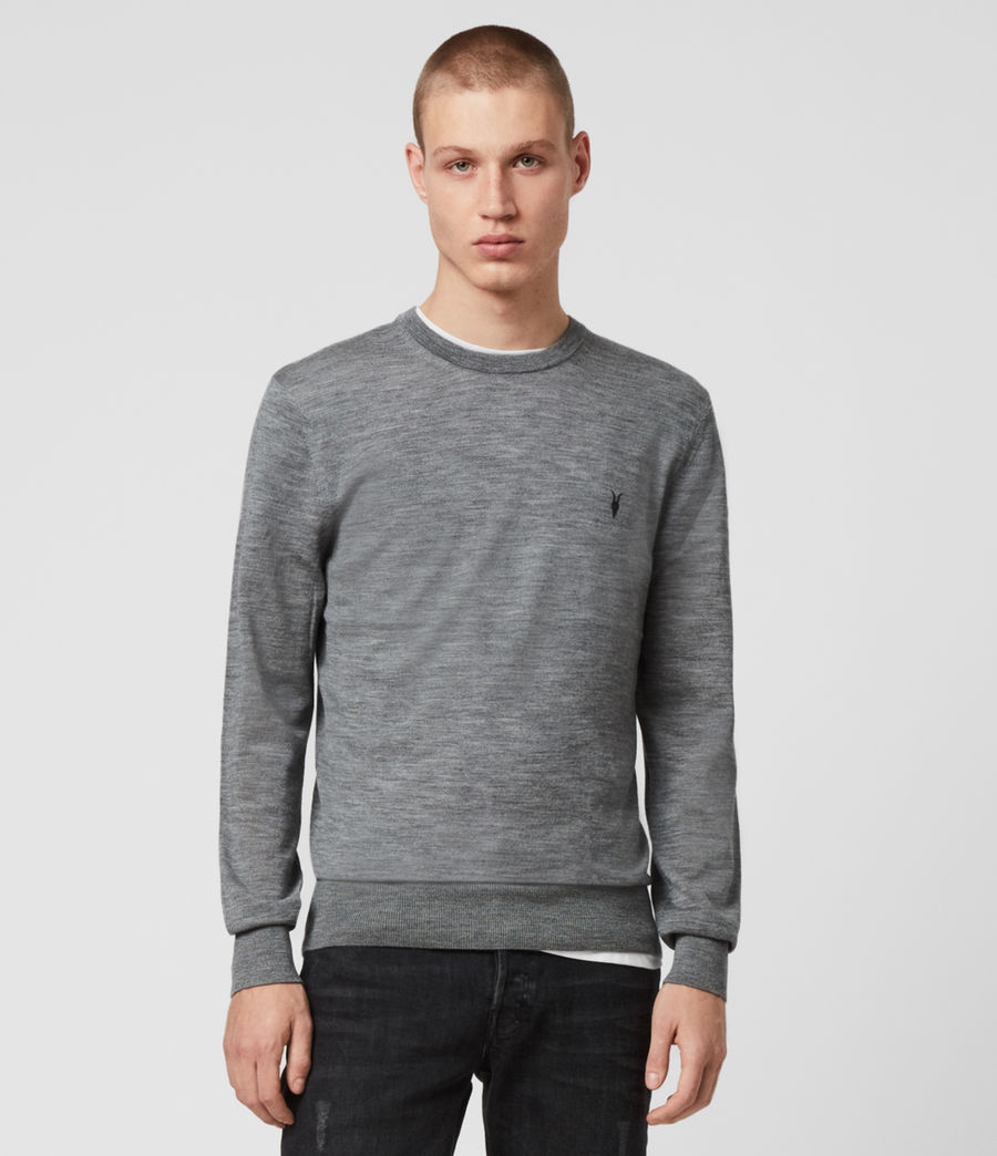 Men's Mode Merino Crew Jumper (oil_green_mouline) - Image 1
