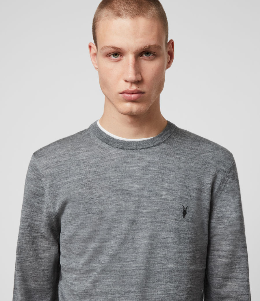 Men's Mode Merino Crew Jumper (Grey Marl) - Image 2