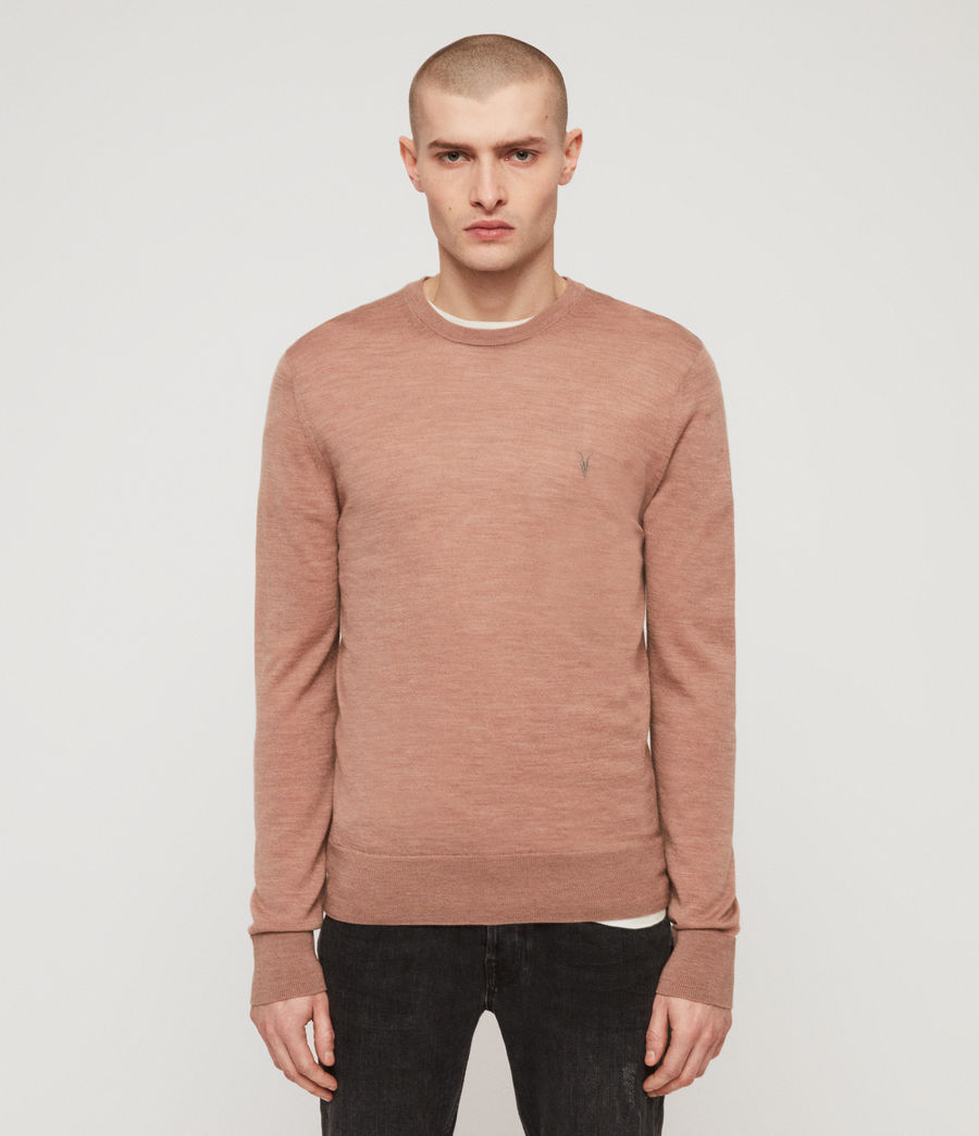 Mens Mode Merino Crew Sweater (dusty_pink_marl) - Image 1