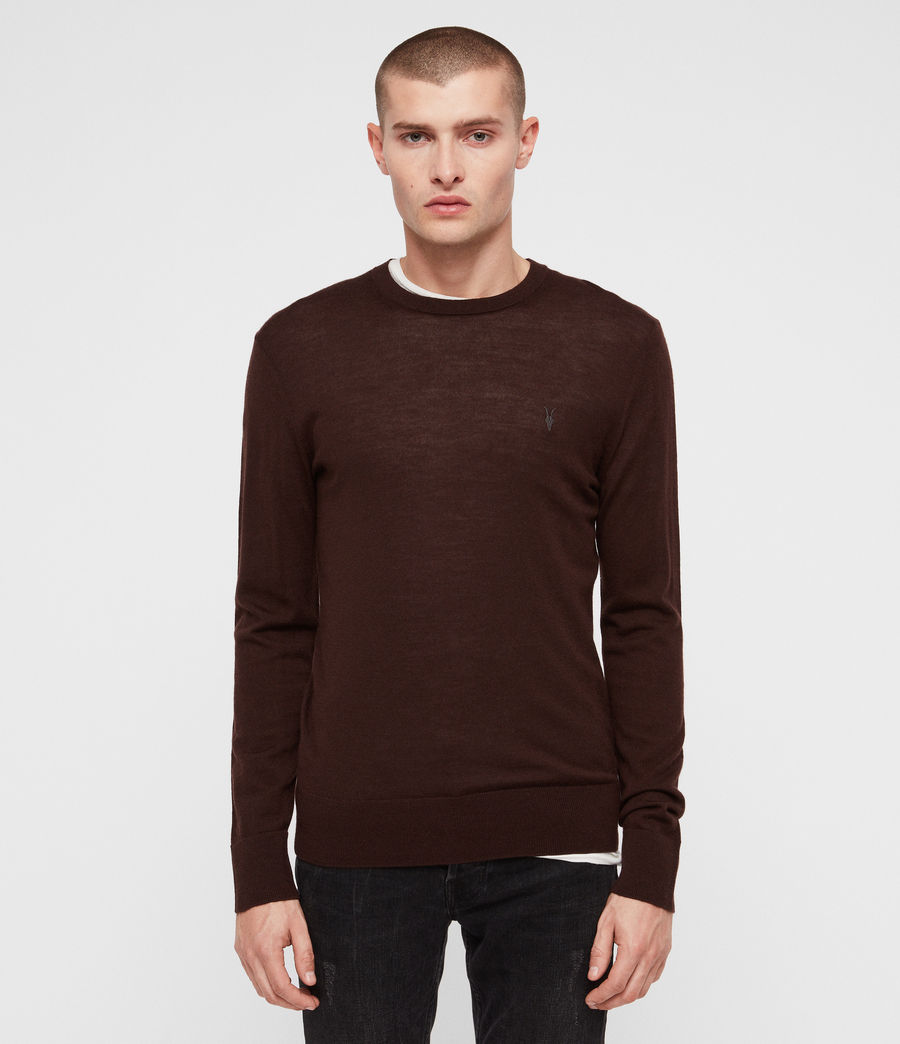 Mens Mode Merino Crew Sweater (oxblood_red) - Image 1