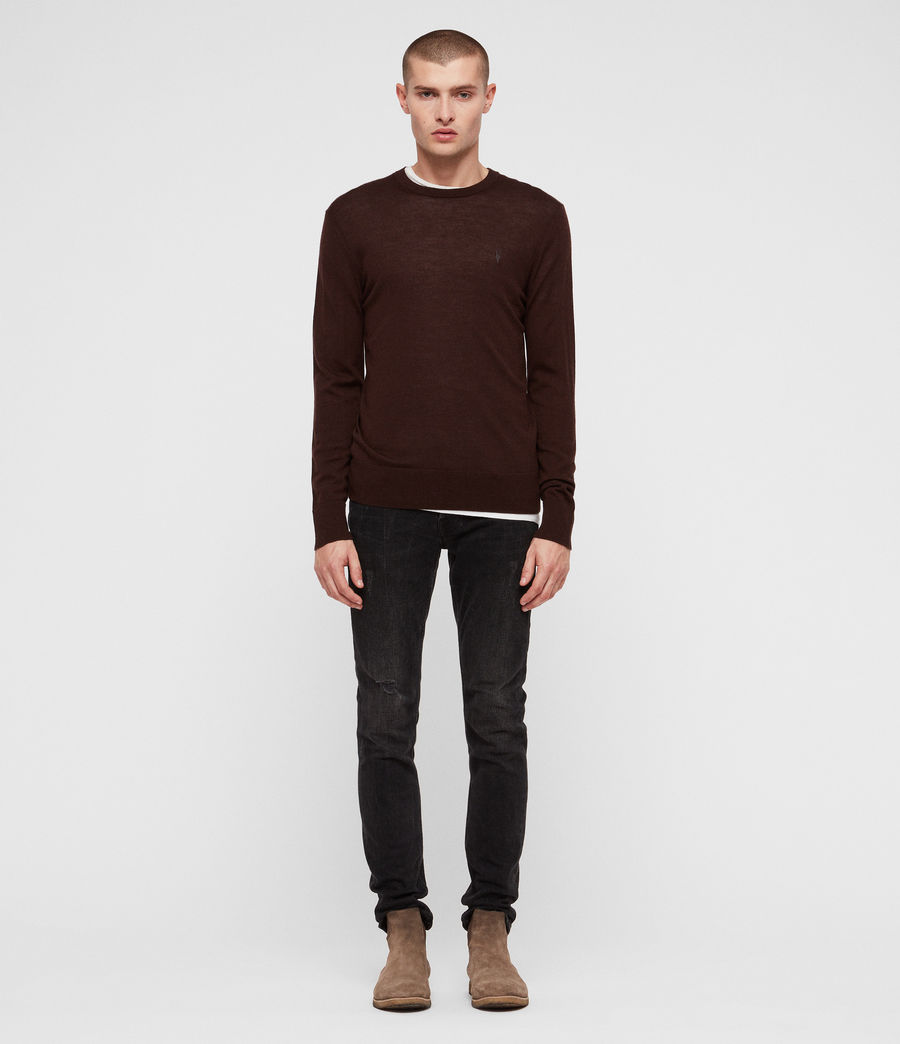 Mens Mode Merino Crew Sweater (oxblood_red) - Image 3