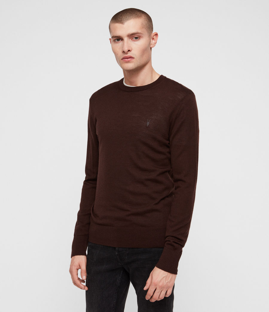 Mens Mode Merino Crew Sweater (oxblood_red) - Image 4