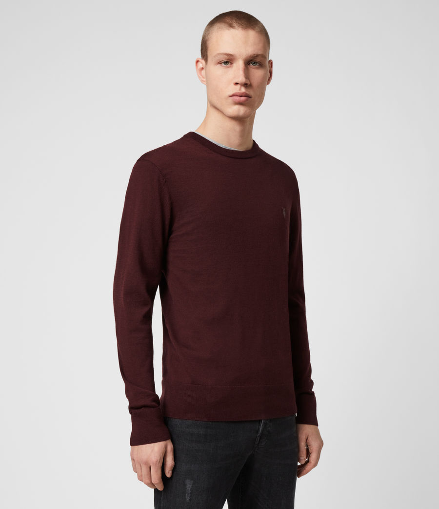 Mens Mode Merino Crew Sweater (maroon_red) - Image 1
