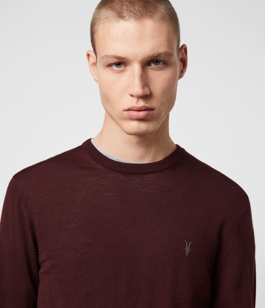 Mens Mode Merino Crew Sweater (maroon_red) - Image 2