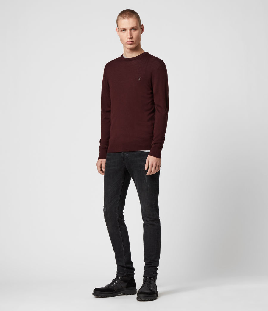 Mens Mode Merino Crew Sweater (maroon_red) - Image 3