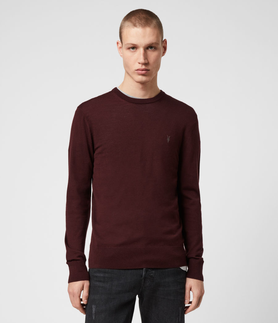 Mens Mode Merino Crew Sweater (maroon_red) - Image 4