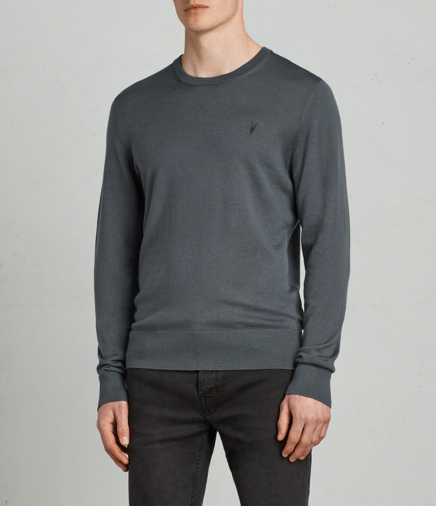 Men's Mode Merino Crew Jumper (flint_green) - Image 1