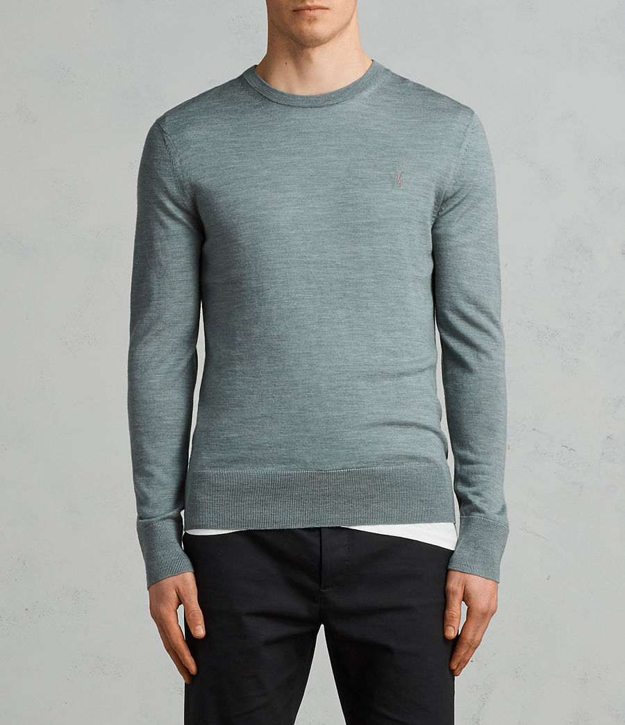 Men's Mode Merino Crew Jumper (palm_green_marl) - Image 1
