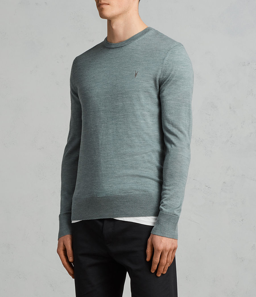 Men's Mode Merino Crew Jumper (palm_green_marl) - Image 3