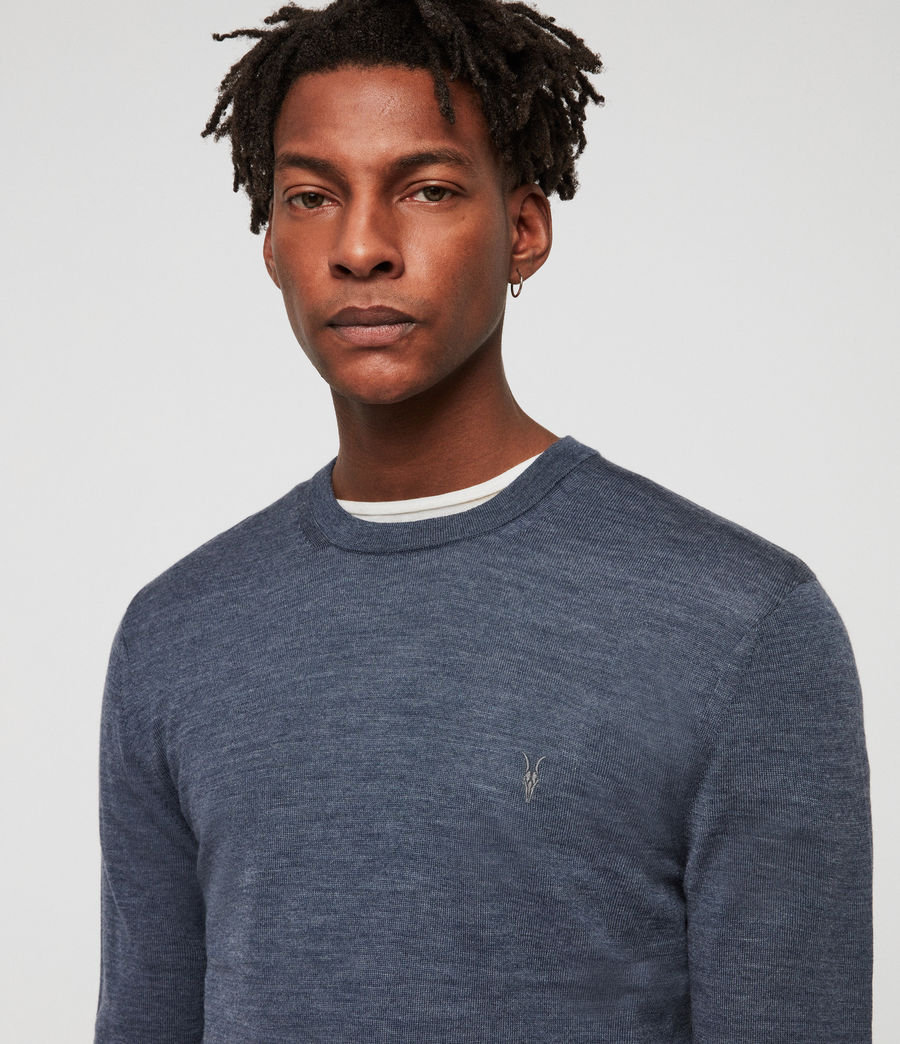 Men's Mode Merino Crew Jumper (washed_navy_marl) - Image 2