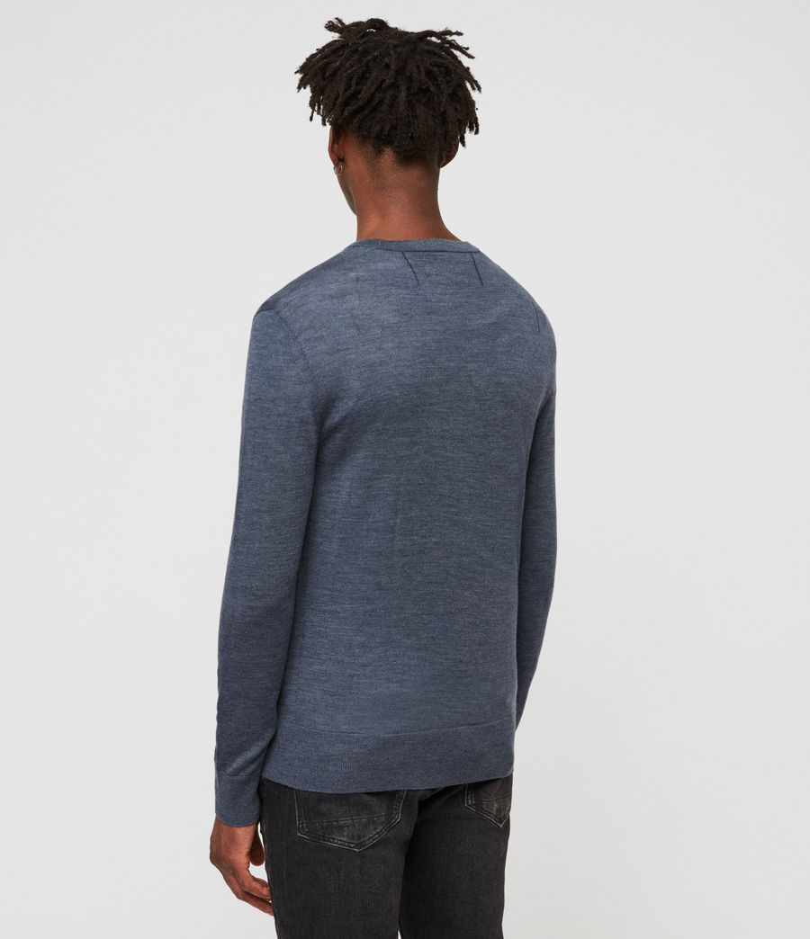 Men's Mode Merino Crew Jumper (washed_navy_marl) - Image 4