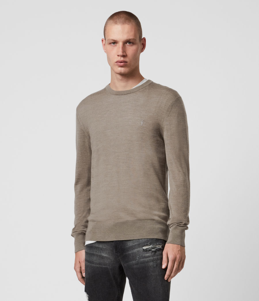 Mens Mode Merino Crew Sweater (bay_green_marl) - Image 1