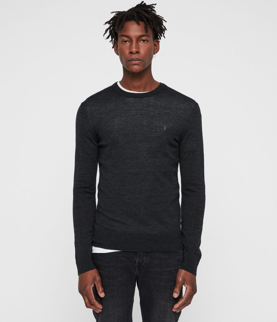 Mens Mode Merino Crew Sweater (tar_black_marl) - Image 1