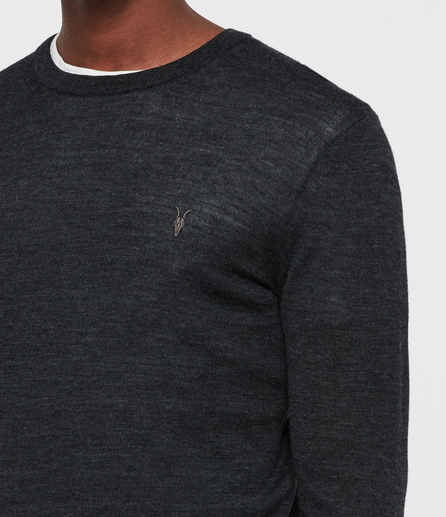 Mens Mode Merino Crew Sweater (tar_black_marl) - Image 2