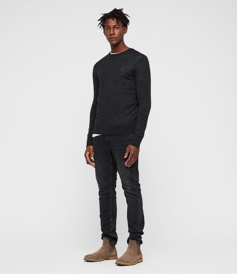 Mens Mode Merino Crew Sweater (tar_black_marl) - Image 3