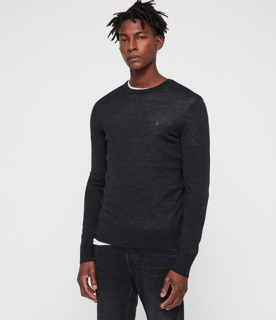 Mens Mode Merino Crew Sweater (tar_black_marl) - Image 4