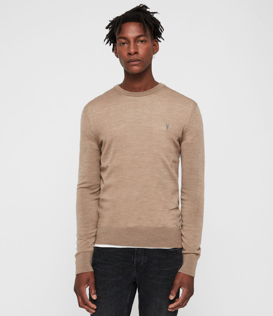 Mens Mode Merino Crew Sweater (almond_brown_marl) - Image 1