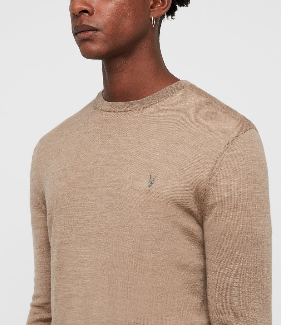 Mens Mode Merino Crew Sweater (almond_brown_marl) - Image 2