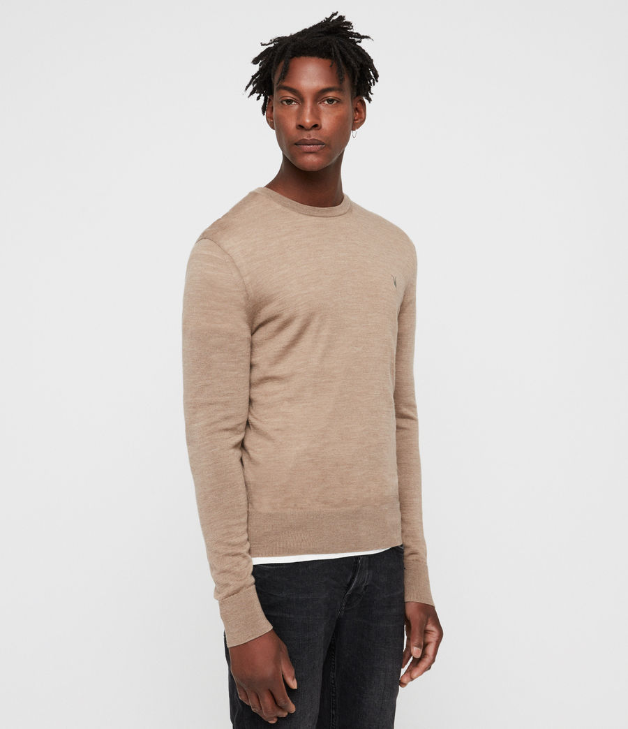 Mens Mode Merino Crew Sweater (almond_brown_marl) - Image 3