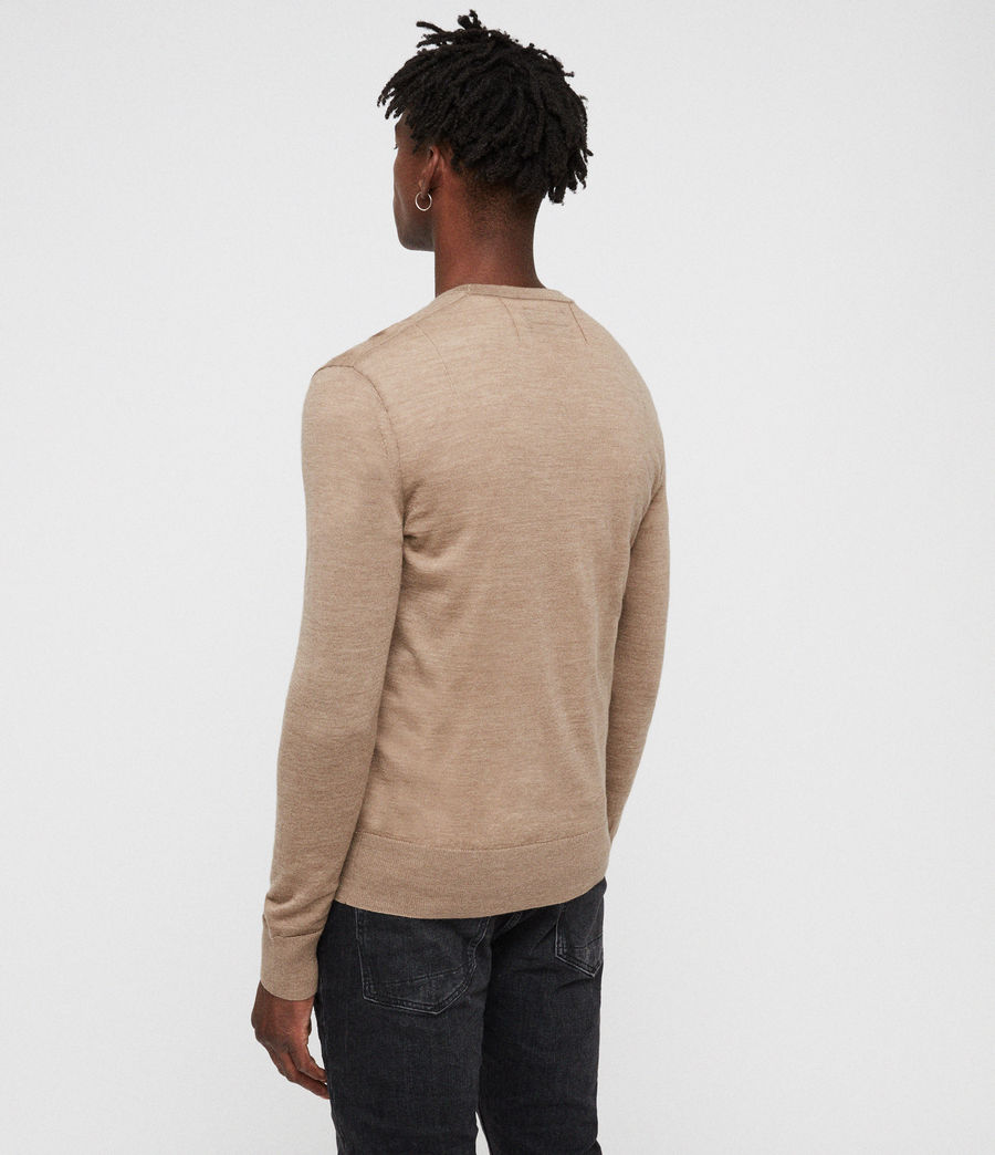 Mens Mode Merino Crew Sweater (almond_brown_marl) - Image 4