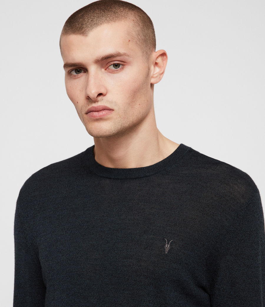 Men's Mode Merino Crew Jumper (oil_green_mouline) - Image 2