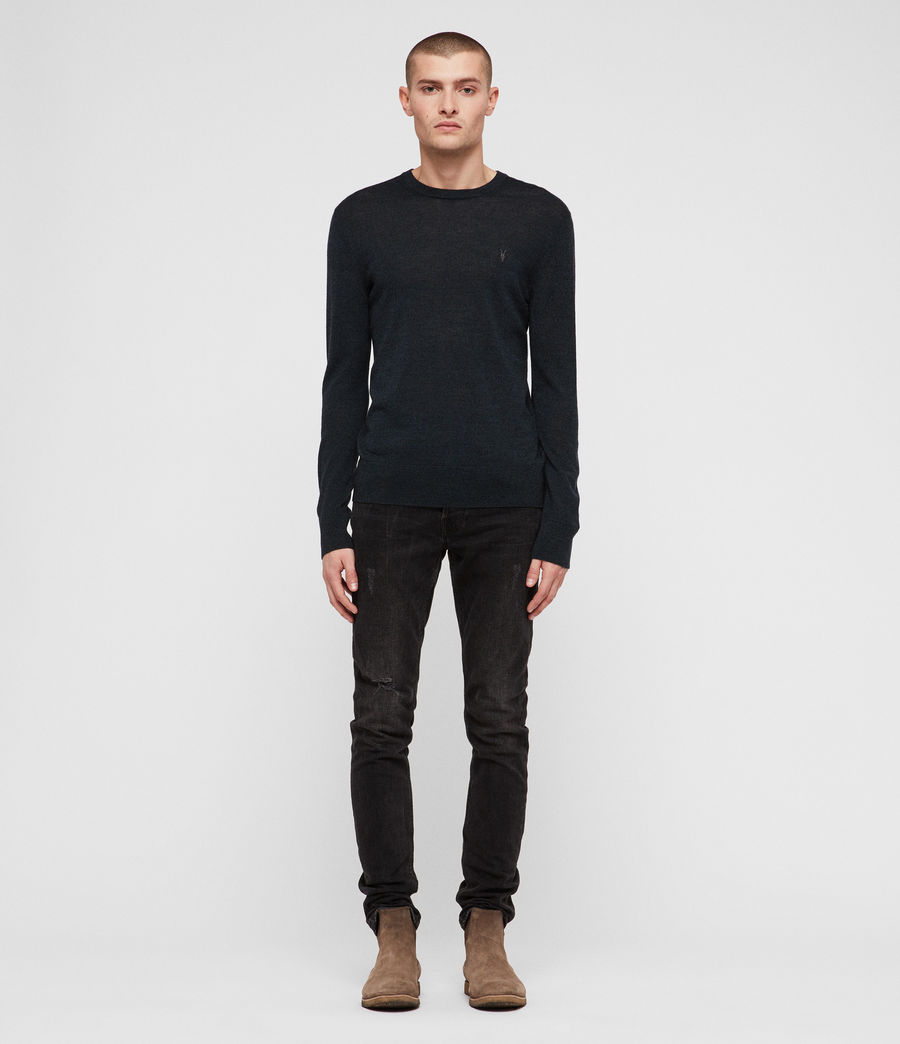 Men's Mode Merino Crew Jumper (oil_green_mouline) - Image 3