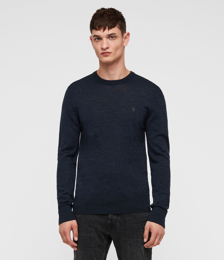 Mens Mode Merino Crew Jumper (aurorablue_mouline) - Image 1