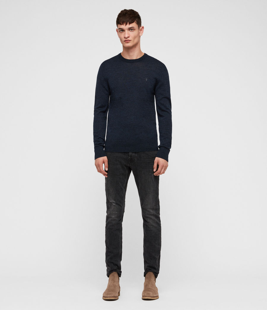 Mens Mode Merino Crew Jumper (aurorablue_mouline) - Image 3