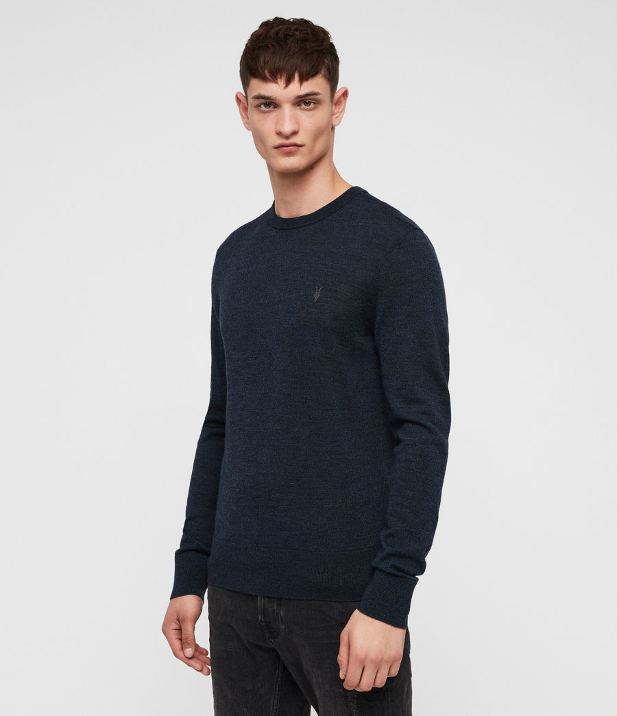 Mens Mode Merino Crew Jumper (aurorablue_mouline) - Image 4