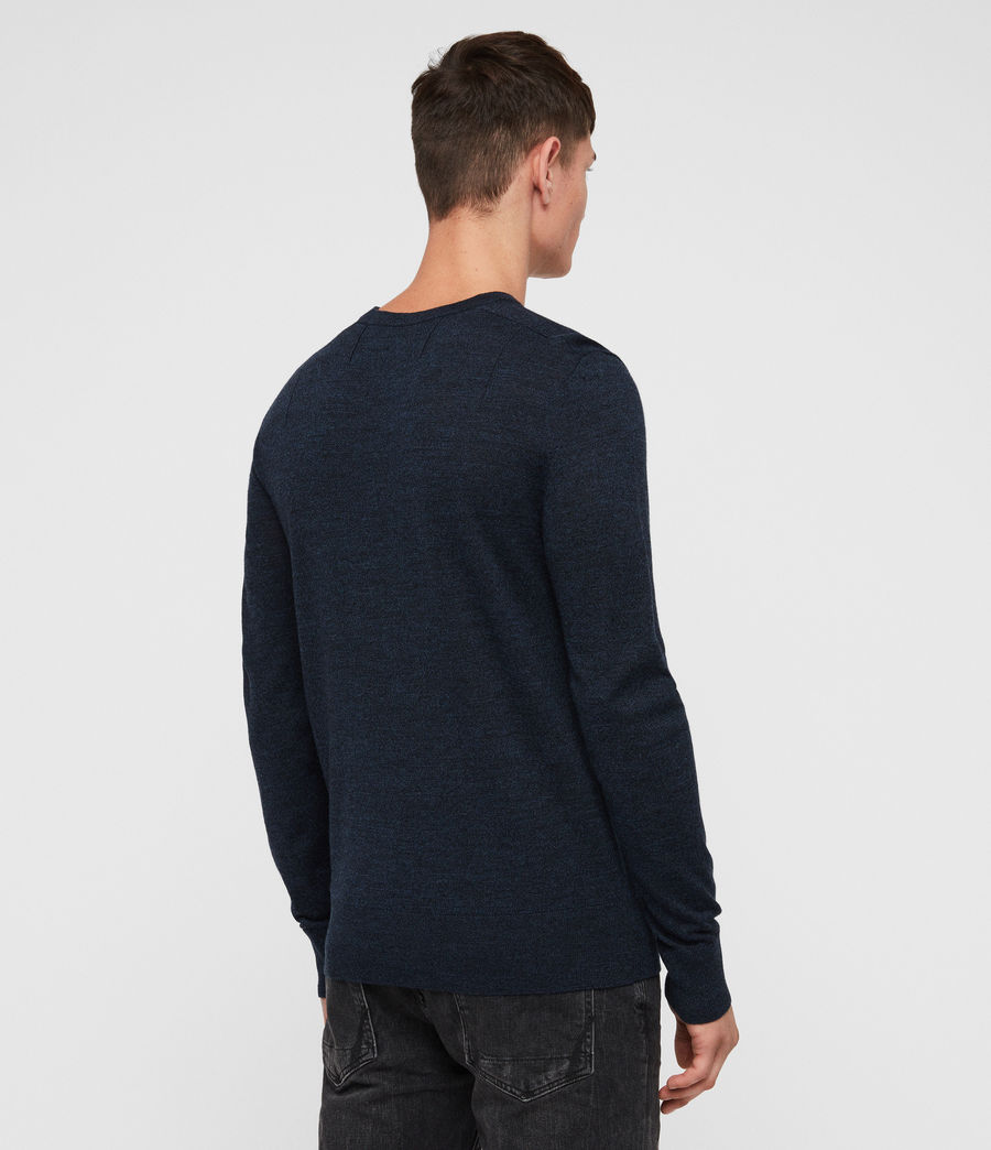 Mens Mode Merino Crew Jumper (aurorablue_mouline) - Image 5