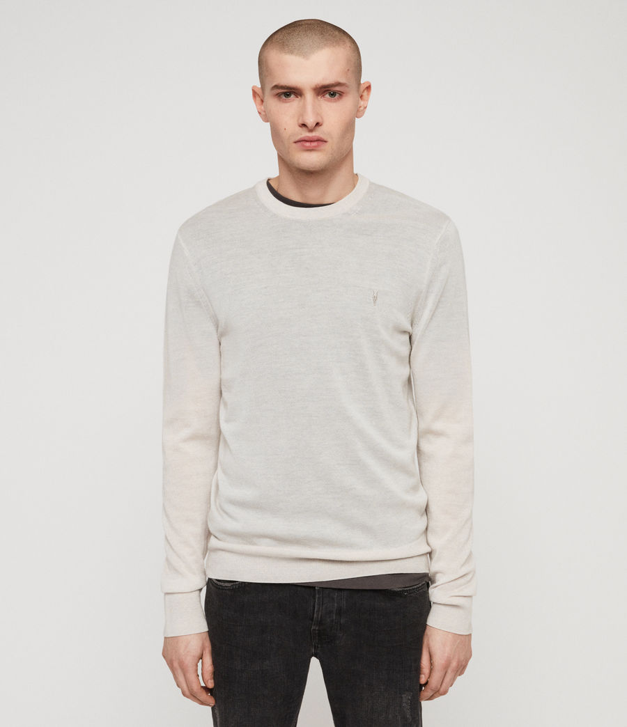 Mens Mode Merino Crew Sweater (ecru_grey_marl) - Image 1