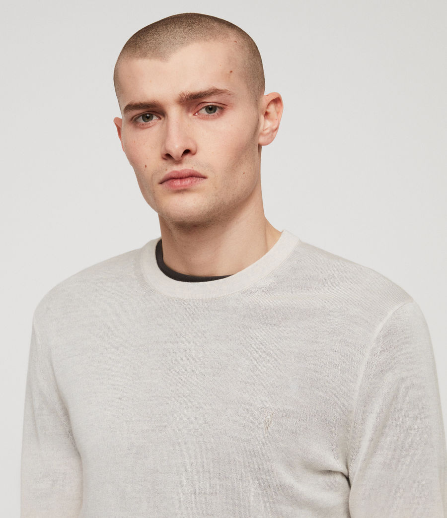 Mens Mode Merino Crew Sweater (ecru_grey_marl) - Image 2