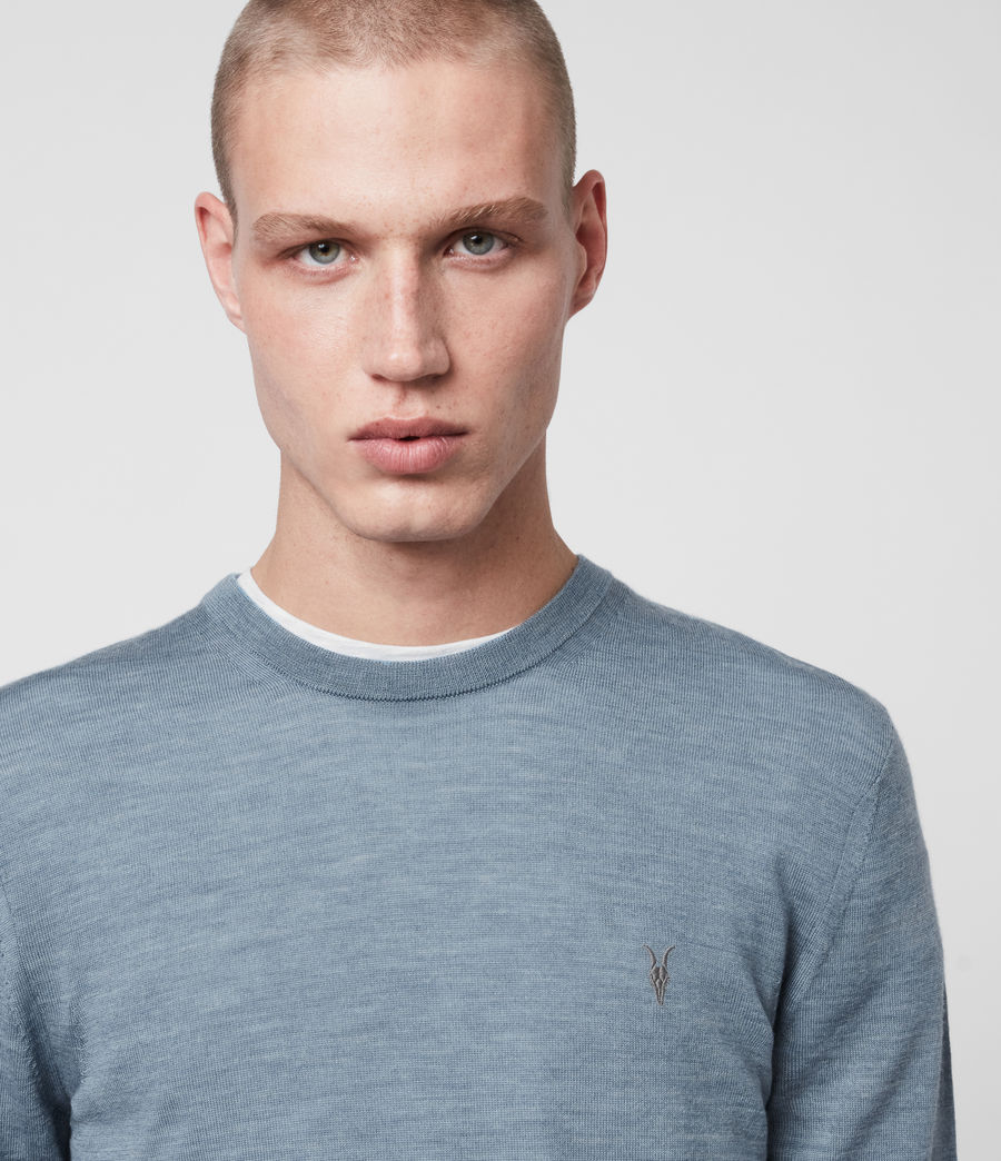 Mens Mode Merino Crew Sweater (haze_blue_marl) - Image 2