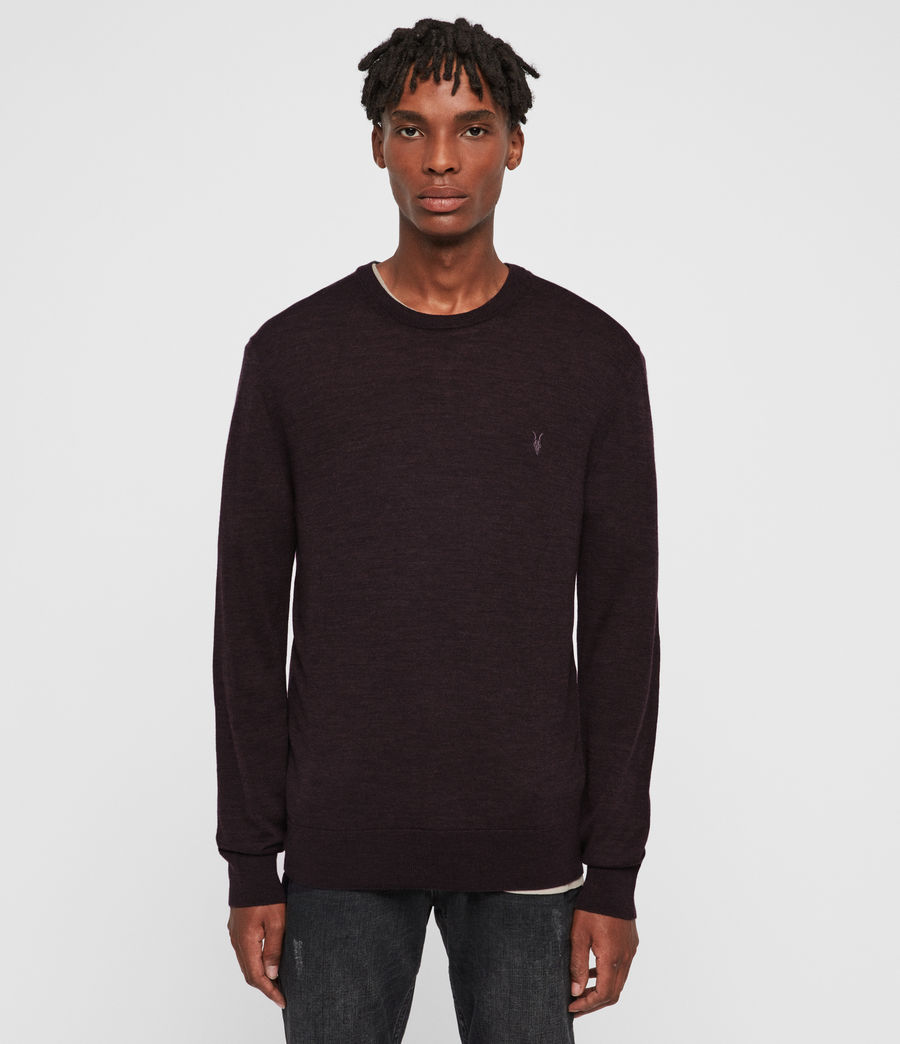 Men's Mode Merino Crew Jumper (black) - Image 1