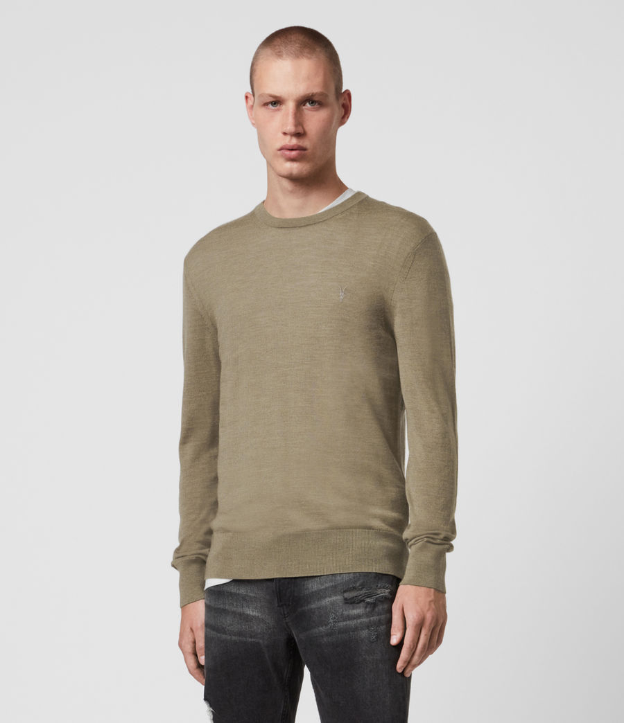 Mens Mode Merino Crew Sweater (safari_taupe) - Image 1