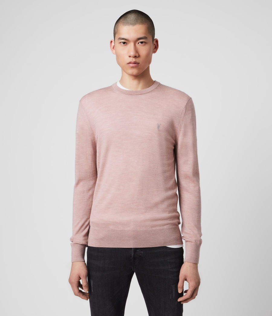 Mens Mode Merino Crew Sweater (sunset_pink_marl) - Image 1