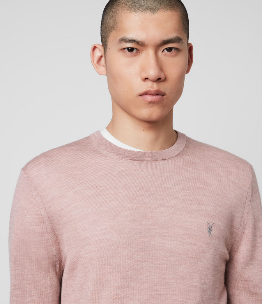 Mens Mode Merino Crew Sweater (sunset_pink_marl) - Image 2