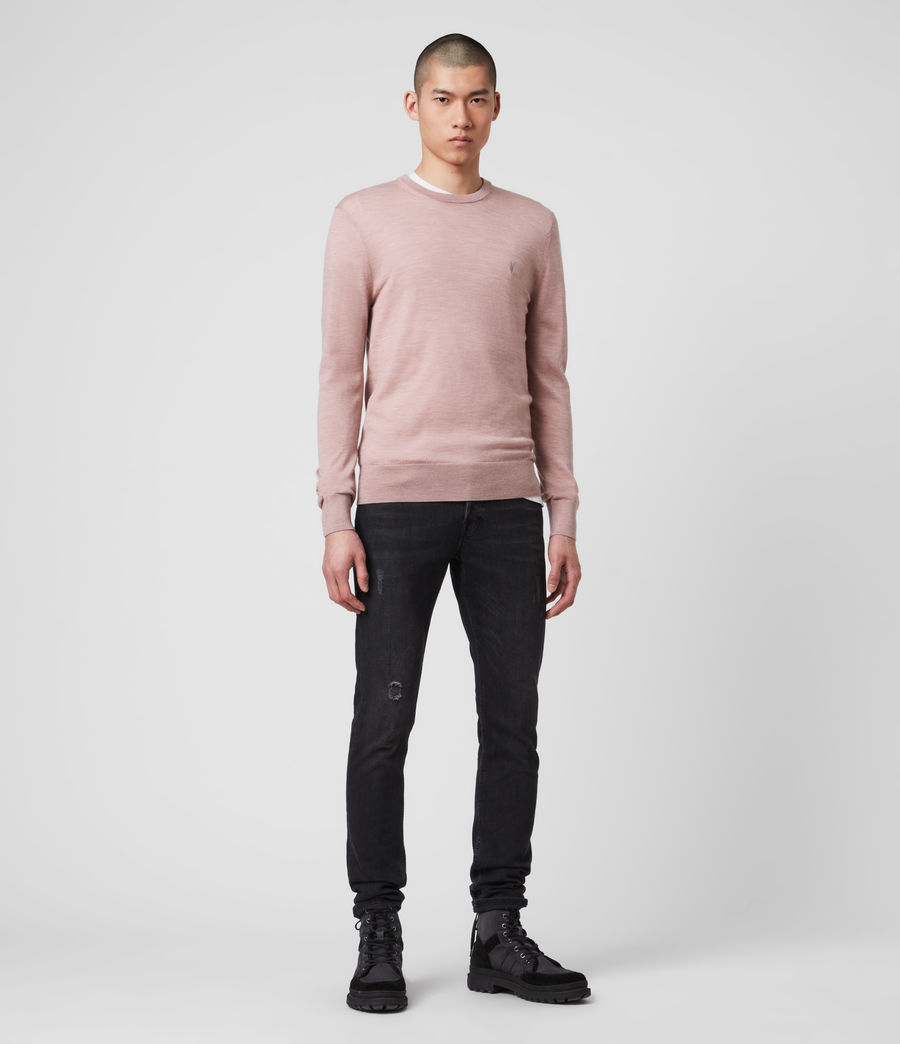 Mens Mode Merino Crew Sweater (sunset_pink_marl) - Image 3